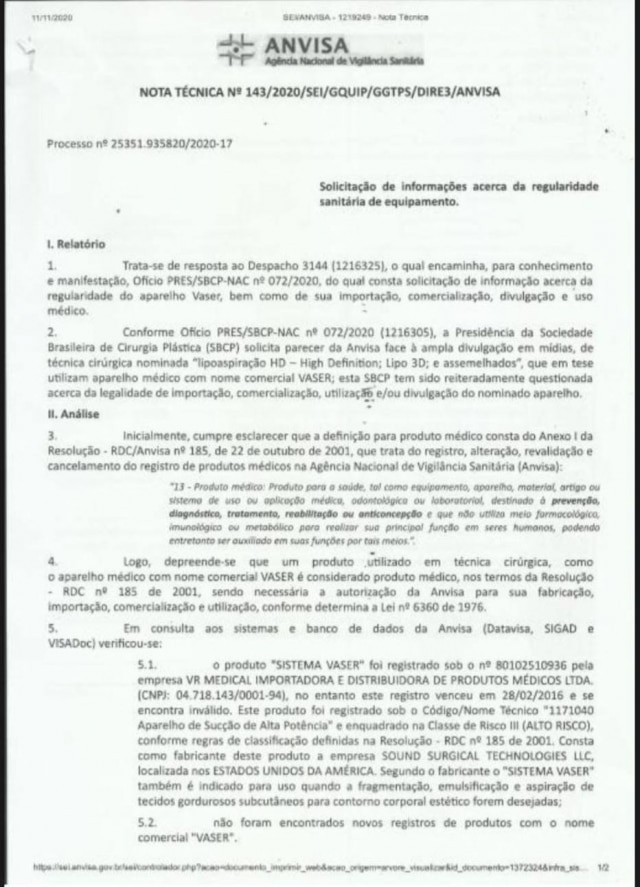 A Anvisa enviou uma Nota Técnica à SBCP no dia 11 de novembro