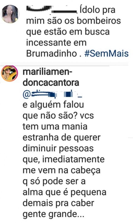 Marília Mendonça rebate comentário de seguidora.