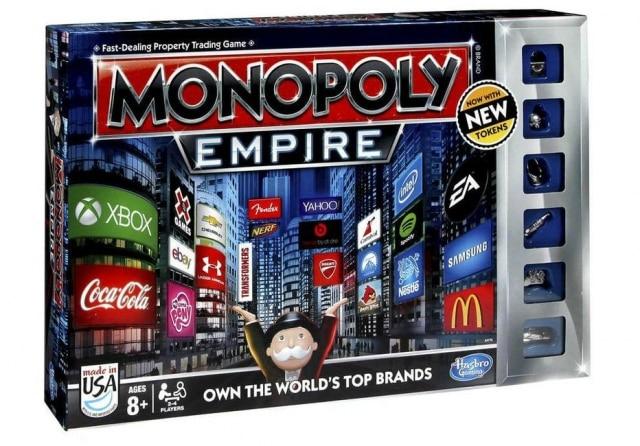 Monopoly Império temlogotipos de 22 marcas em sua embalagem e no tabuleiro