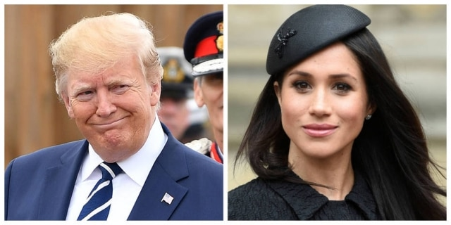 O presidente dos Estados Unidos Donald Trump e a duquesa de Sussex Meghan Markle.