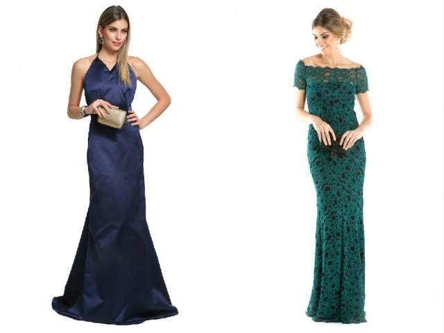 Vestido azul-marinhodo estilista Reinaldo Lourenço e olongo da estilista americana Nicole Miller