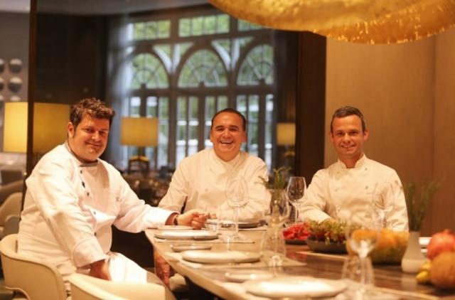 O chef Jean-Georges Vongerichten entre Pascal Valero (à esq.) e Felipe Rodrigues
