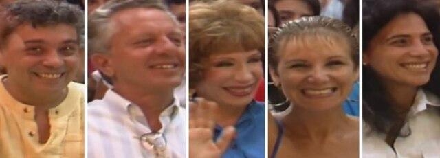 Pedro Paulo Rangel, Rogério Cardoso, Berta Loran, Sylvia Massari e Totia Meirelles no 'Domingão do Faustão'.