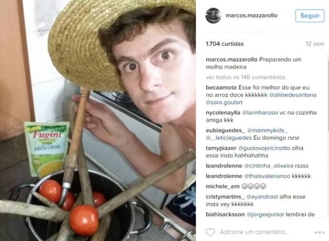 """""""Preparando um molho madeira""""é a legenda/piadaque Marco utilizou."""