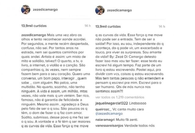 Texto completo de Zezé Di Camargo no Instagram.