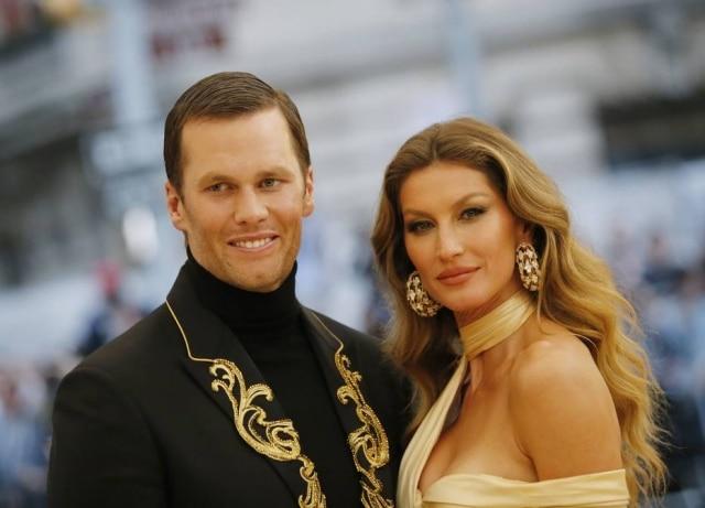 Jogador de futebol americano Tom Brady ea modelo Gisele Bündchen