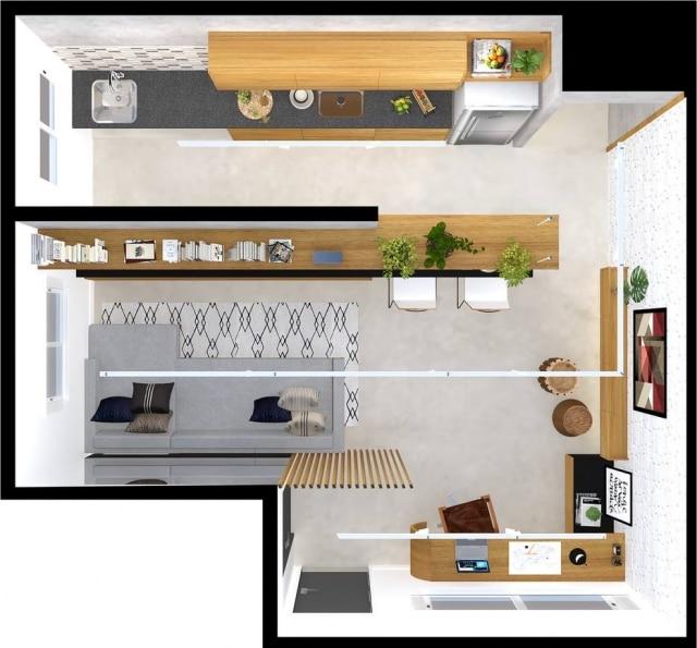 A planta com o projeto criado para o leitor: de um lado, home office; de outro, sala com a cozinha integrada