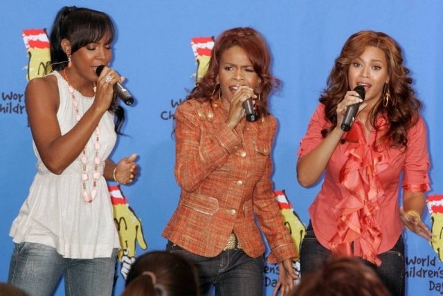 As integrantes do Destiny's Child, Kelly Rowland, Michelle Williams e Beyonce, em novembro de 2005