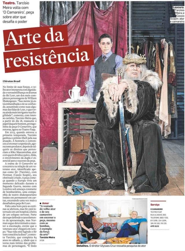 Tarcísio Meira em sua última atuação, na peça O Camareiro, com Cassio Scapin
