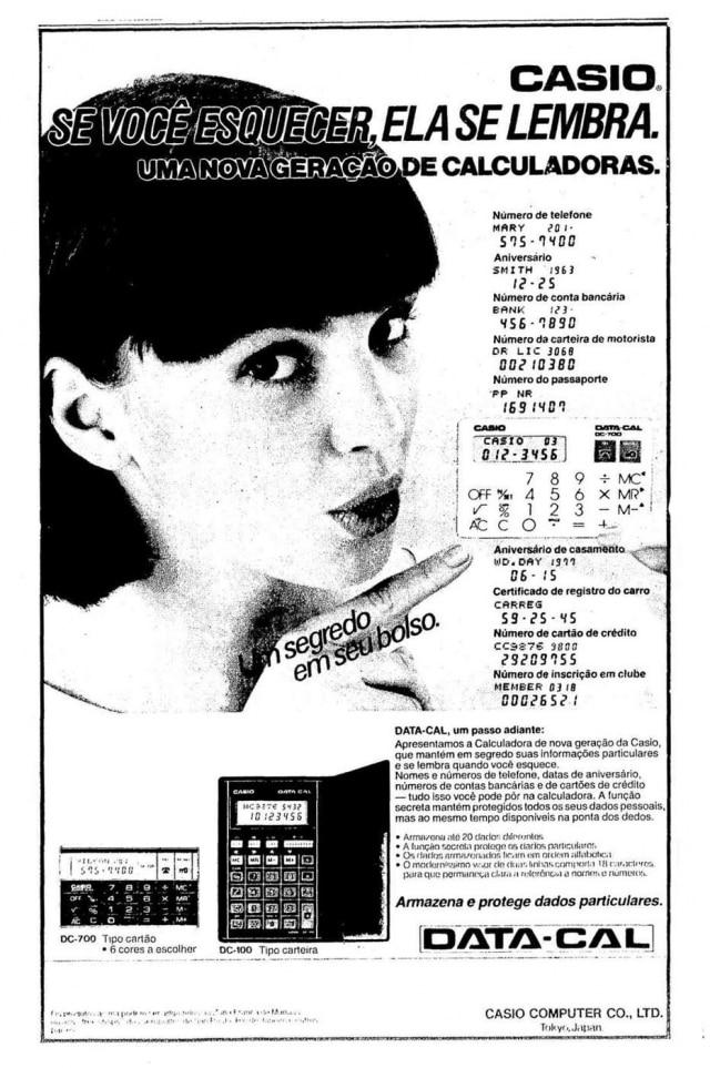 Publicidade daData-Cal da Casio, noEstadãode 08/7/1986.