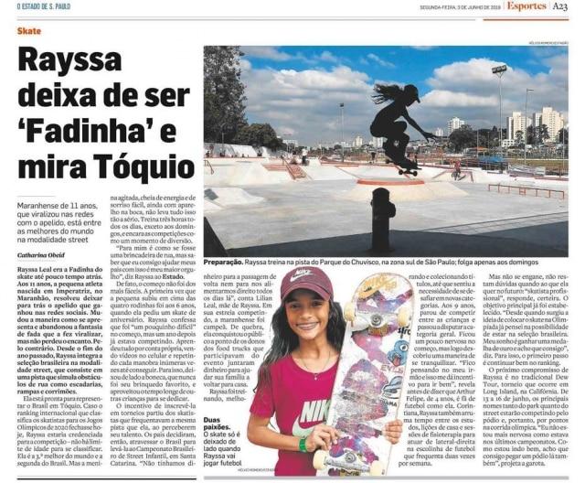 Reportagem de 2019 comRayssa Leal contando sobre sonho olímpico