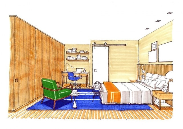 Projeto ganhou um pequeno home office integrado ao quarto, a pedido da leitora