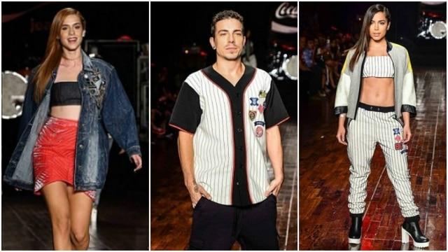 A atriz Sophia Abraão, o cantor Di Ferrero e a cantora Anitta desfilam pela Coca-Cola Jeans