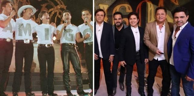 Os 'Amigos'Zezé Di Camargo, Luciano, Chitãozinho, Xororó e Leonardo em 1998 e em 2019.