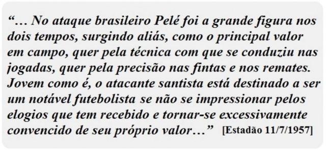 Texto sobre Pelé publicado no Estadão em 1957