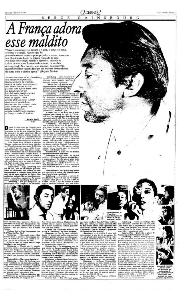 Página de 1986 comperfil e entrevistadeSerge Gainsbourg