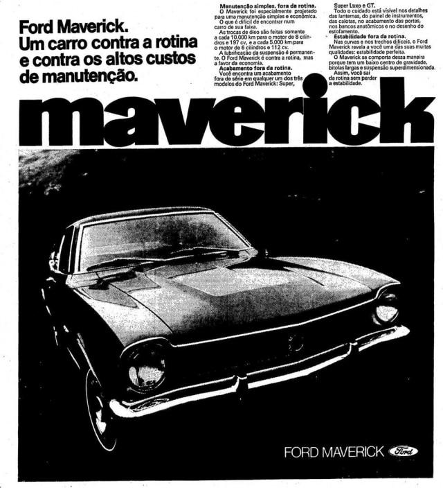 Anúncio doFord Maverick, no Estadão de 27/7/1973.