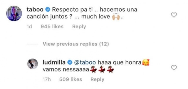 Taboo, integrante do Black Eyed Peas, convida Ludmilla para parceria musical.