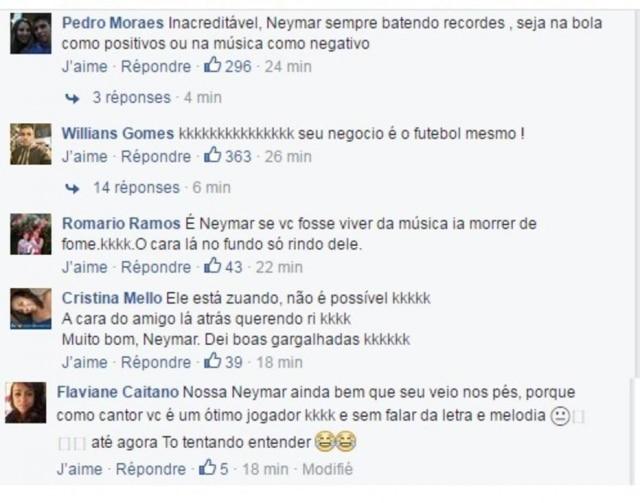"""Neymar sendo """"apedrejado"""" em sua página no Facebook após postar um trecho da nova música,Yo Necesito."""