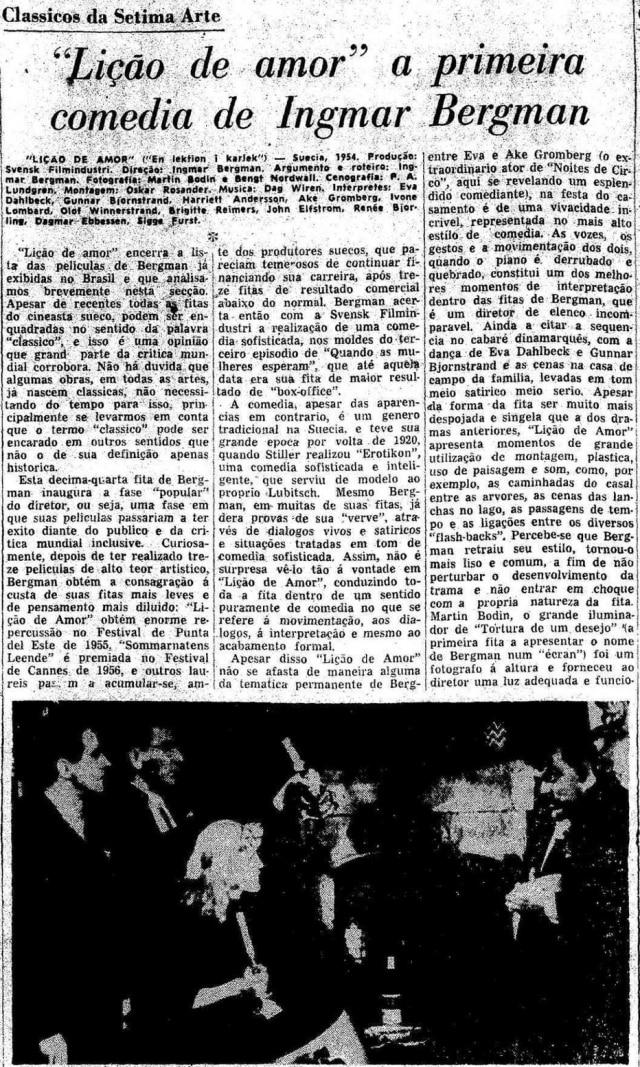 Texto de 6/4/1958 sobre o filme 'Lição de Amor', de Ingmar Bergman.