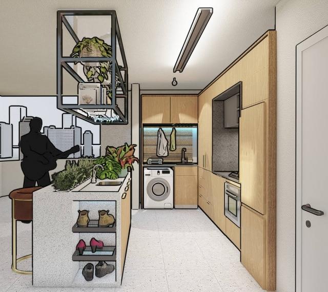 Logo na entrada da cozinha, apartamento recebe sapateira no projeto de Otto Felix