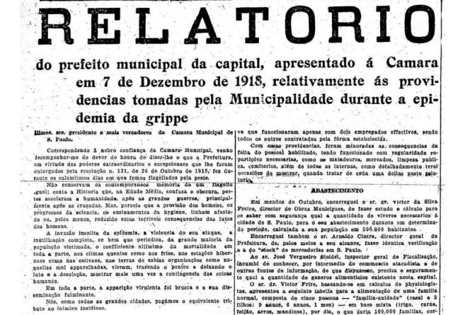 Relatório de contas da epidemia em SPO Estado de S.Paulo - 08/12/1918