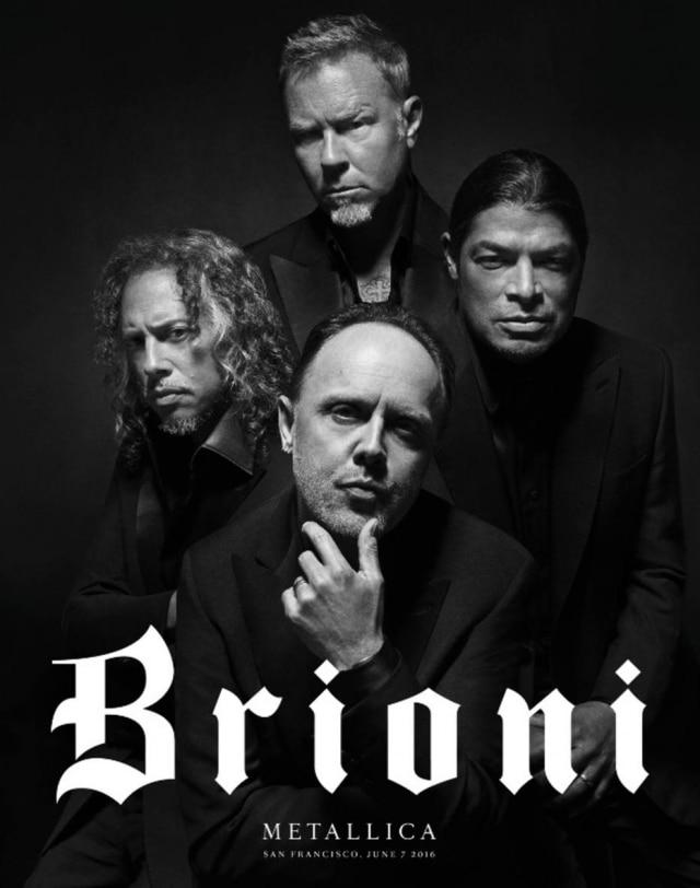 O Metallica está na moda. A banda de heavy metal americana estrela a nova campanha da grife italiana Brioni.
