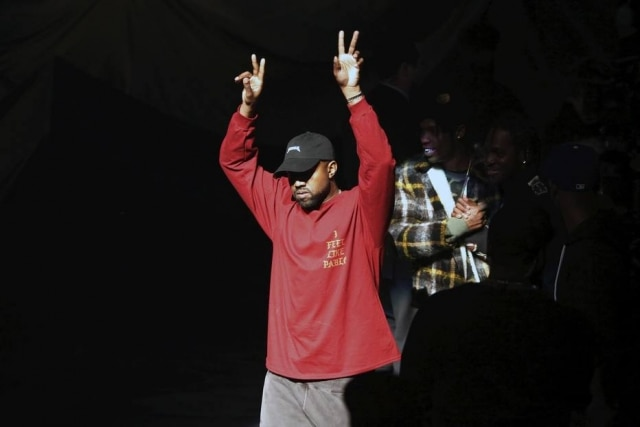 Kanye West durante o evento de lançamento da Yeezy Season 3 e do cd 'Life of Pablo'