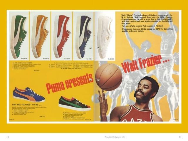 O jogador de basquete Walter 'Clyde' Frazier na campanha de um modelo da Puma, de 1972
