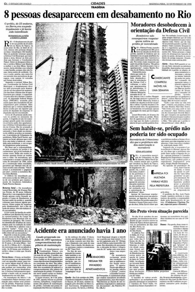 Página do Estadão com a notícia do desabamento do edifício Palace II.