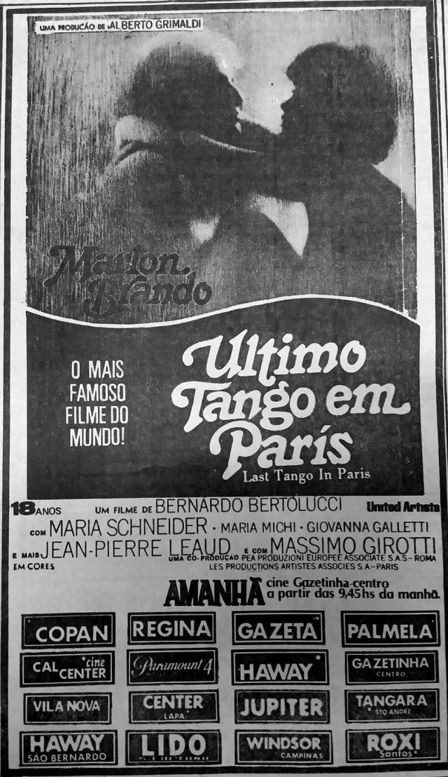 Cartaz daestreia de'O Último Tango em Paris'