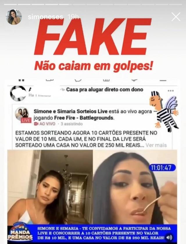 Fake news usa nome deSimone e Simaria para aplicar golpes