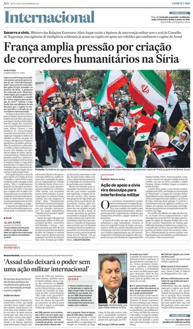 > Estadão - 25/11/2011