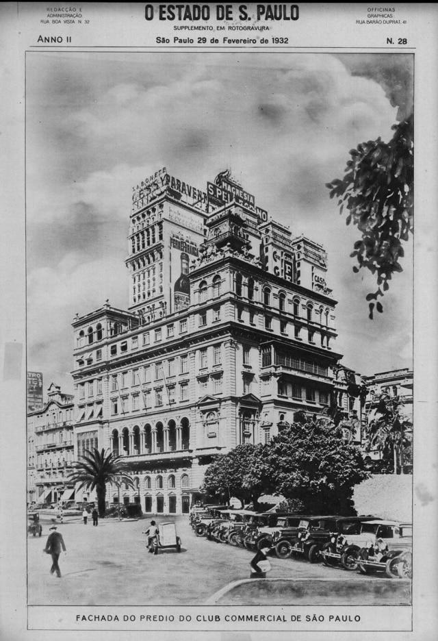 Prédio do Club Comercial em fevereiro de 1932.