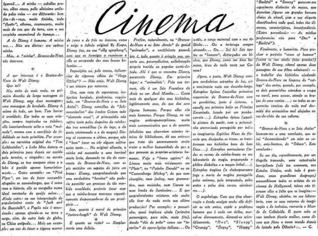 Texto deGuilherme de Almeida comentando a estreiade Branca de Neve no Brasil em 1938