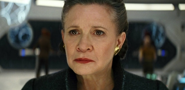 Carrie Fisher em cena do filme 'Star Wars: Os Últimos Jedi'.
