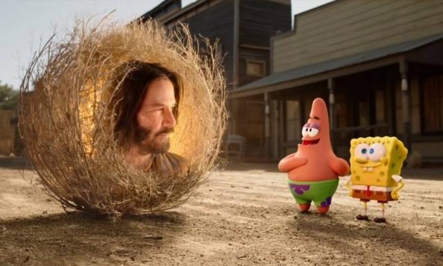 Keanu Reeves em cena do trailer de novo filme de Bob Esponja.