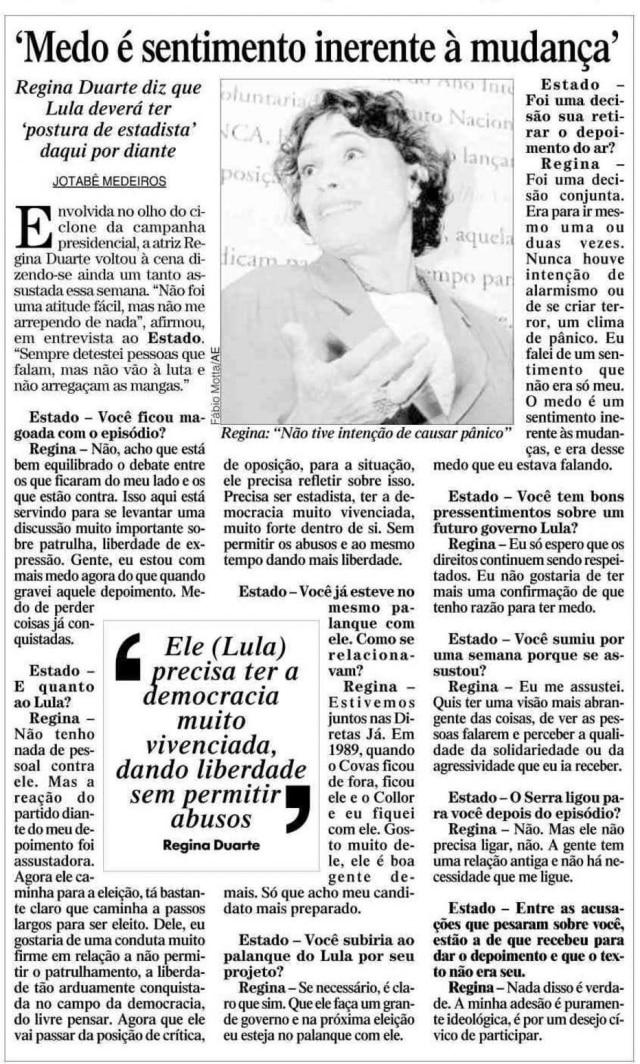 Notícia sobre Regina Duarte nojornal de 22/10/2002
