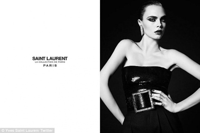 A modelo Cara Delevingne posa para uma campanha recente da grife YSL