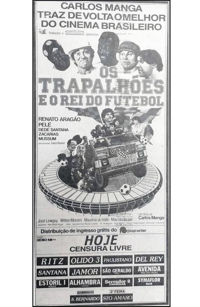 Cartaz de Os Trapalhões e o Rei do Futebol, publicado no Estadão de 26/6/1986