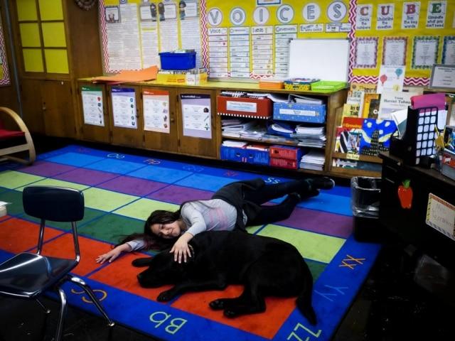 Brianna Celaya com Jumah, cão que trabalha na Primary School 200, em Nova York