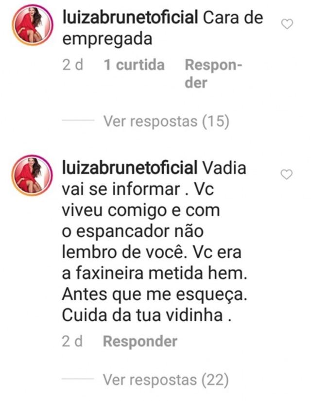 Comentários feitos por Luiza Brunet em postagens do Instagram de seguidora.