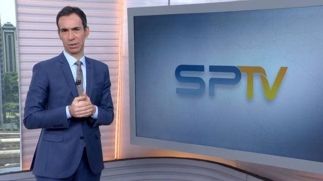 Jornalista César Tralli como apresentador do 'SPTV'