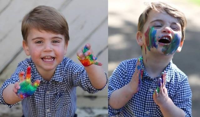 Fotos mostraram o Príncipe Louis brincando com tinta