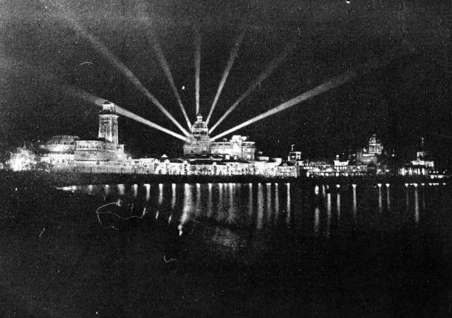 A Exposição Internacional do Centenário da Independência toda iluminada, Rio de Janeiro , 1922