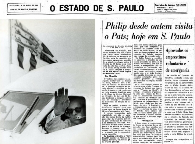 Pilotando o bimotor Dart Herald, príncipe Philip deixa São Paulo18/3/1962.> Estadão - 16/3/1962