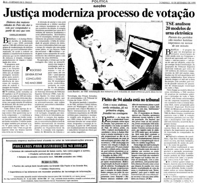 >> Estadão - 10/9/1995
