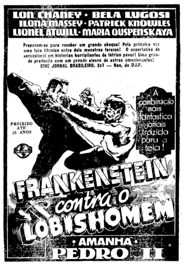 Cartaz do filme Frankenstein contra o Lobishomem, no Estadão de 11/7/1943.