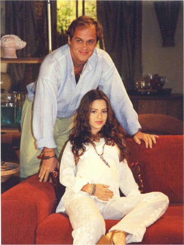 Sandy e Guilherme Fontes em cena de 'Estrela-Guia', novela das 6 da Globo em 2001.
