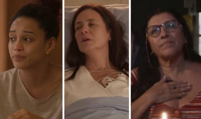 Taís Araújo (Vitória), Adriana Esteves (Thelma) e Regina Casé (Lurdes) em cena na novela das 9 de 'Amor de Mãe'.
